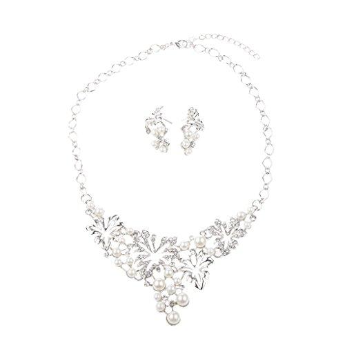 Generic Femmes Perle Strass Cristal Collier Boucles D'oreilles Bijoux Décor Argent