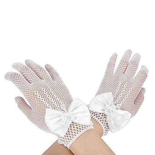LONTG Damen Brauthandschuhe Frauen Mädchen Braut Sommer Netzhandschuhe Sonnenschutz weich kurz Abendhandschuhe Schöne elastisch one size mit Bogen weiß Spitzenhandschuhe für hochzeit halloween ()