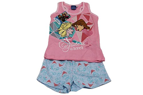 Russo tessuti pigiama bimba completino tuta bambina frozen sisters cotone 100% rosa-6 anni
