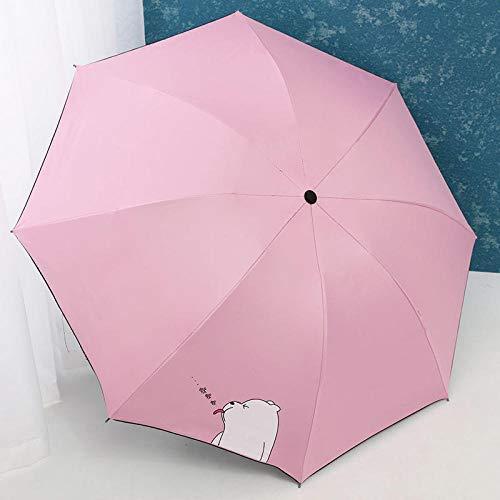 Falten kreative kleine frische Vinyl Anti-UV-Sonnenschirm Regenschirm Sonnenschutzschirm Männer und Frauen Regen und Regen Dual-Use-automatische Kumamoto Bär - schwarz, großer weißer Bär - Pulver -