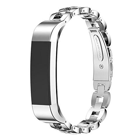 Fitbit Alta Band, 10principales réglable en acier inoxydable Sports Bracelet de montre bracelet Cristal, accessoires de remplacement pour Fitbit Alta/HR tracker de fitness M Silver