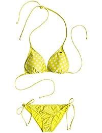 Roxy Tiki Tri & Tie Side Pant - Traje de baño de dos piezas para mujer, diseño Optic Nature Big Dot Cabbage