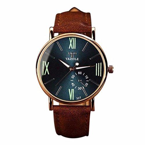 Internet Luxusmode Ledermens Glas Quarz analoge Armbanduhr Noctilucent Uhren