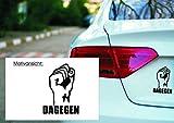 KFZ Aufkleber: 'Dagegen' Anti, Faust, Widerstand // Autoaufkleber // verschiedene Farben und Größen (Grau - 290 mm x 210 mm)