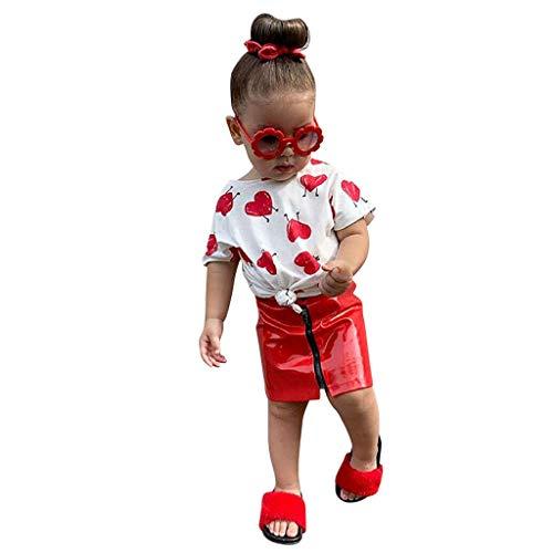 LEXUPE Kleinkind Kinder Baby Mädchen Outfits Lange Ärmel Kapuzen-T-Shirt Tops + Hosen Kleidung Set(Rot,120)