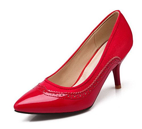 AgooLar Femme Tire Matière Souple Pointu Stylet Couleurs Mélangées Chaussures Légeres Rouge