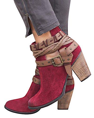 Minetom Mujer Botines Invierno Otoño Moda Hebilla Calentar Botas Elegante Tacón Ancho Tacones Altos Casual Ankle Boots Rojo EU 41