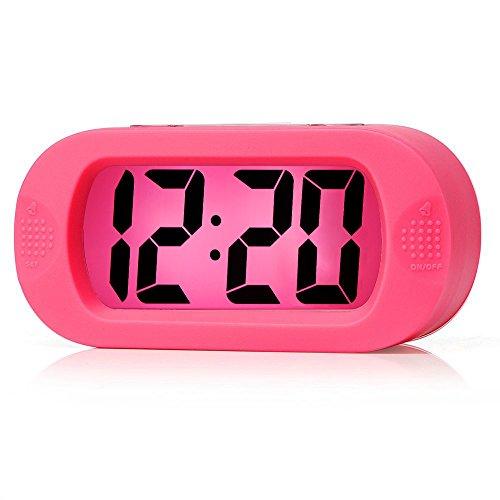 Einfach Einzustellen, Plumeet Großer Digitaler LCD-Reisewecker, Mit Schlummermodus und Nachtlicht, Ansteigendem Soundalarm & Handgerät-Größe, Bestes Geschenk Für Kinder (Rosa)