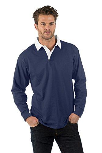 Bruntwood Aufgeld Langarm Rugby Hemd - Premium Long Sleeve Rugby Shirt - Herren & Damen - 280GSM - Baumwolle/Polyester Marineblau