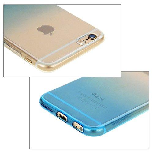 wortek Designer High Quality TPU Silikon - Case für iPhone 6 / 6S Schutz Hülle Halb Transparent Farbverlauf Gelb Blau