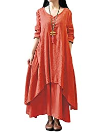 Romacci Femme Robe en Vrac Robe Maxi Robe Boho A-Lin Tunique Lâce Manches Longues Col V Casual
