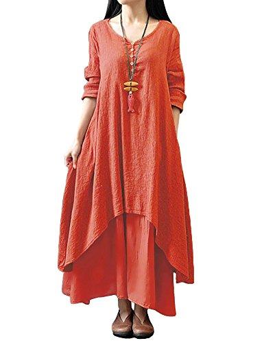 Romacci Damen Beiläufige Lose Kleid Fest Langarm Boho Lang Maxi Kleid S-5XL Schwarz/Weiß/Rot/Gelb, Orange, L - Orange Kleid Sommerkleid