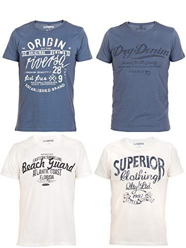 riverso Herren T-Shirt Leon 4er Pack Rundhals O-Neck mit Print - S-5XL - 100{c46e115714ec602ed5585776ef09d270b71e8f11c46debb58817e3847658dc03} Baumwolle - Regular Fit - Grün - Blau - Weiß - Grau, Größe:L, Farbe:2X Blau, 2X Weiß