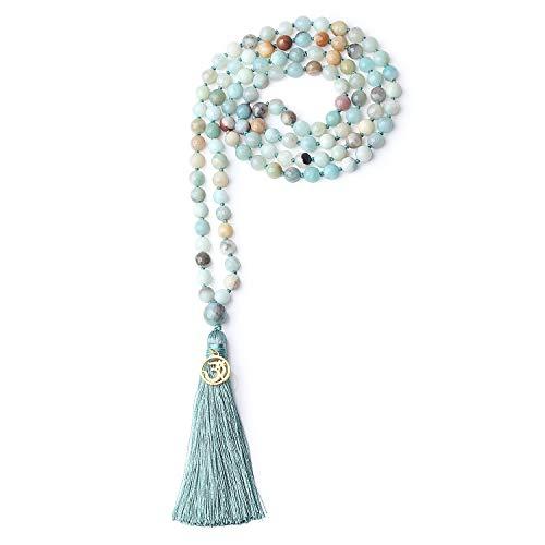 Coai bracciale collana unisex 108 perle mala in amazzonite con nappa azzurra e amuleto om, bracciale rosario buddhista da preghiera
