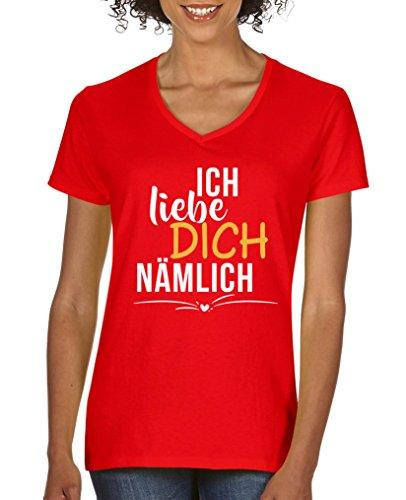 Comedy Shirts - Ich Liebe Dich nämlich - Damen V-Neck T-Shirt - Rot/Weiss-Gelb Gr. L