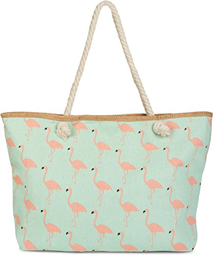 styleBREAKER XXL Strandtasche mit Flamingo Print und Reißverschluss, Schultertasche, Shopper, Damen 02012234, Farbe:Mint