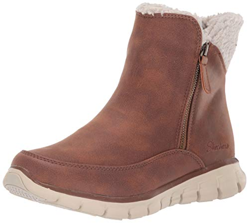Skechers Synergy, Botines para Mujer, Chestnut Micro Leather/Natural Faux Sherpa Csnt, 4 EU