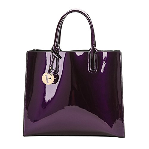 ADEFG Damen Handtaschen Lackleder Große Kapazität Umhängetasche,Purple-OneSize