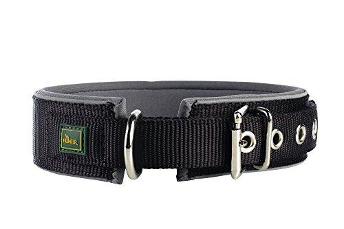 HUNTER NEOPREN REFLECT Halsband für Hunde, Nyon, Neopren gepolstert, reflektierend, 50,  schwarz/grau (Hund Breites Halsband)