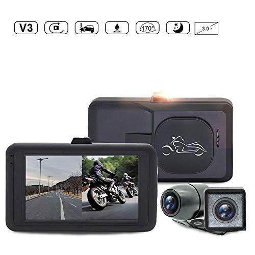 Moto Dash Cam, leegoal impermeabile 720p Dual Lens video registratore moto con 3 'LCD schermo 170 grado angolo giorno/notte visione per YAMAHA/SUZUKI/HONDA/KTM/Bombardier,