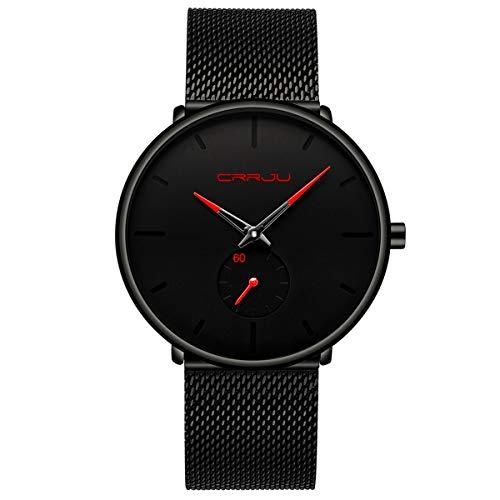 Herren Uhren Ultra Dünne Schwarze Minimalistische Quartz mit Milanese Mesh Edelstahl Und Roter Zeiger