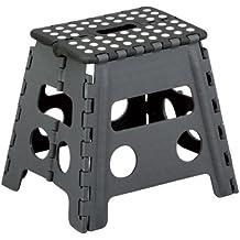 Zeller 13731 Taburete Plegable, Plástico, Negro, 37x30x32 cm