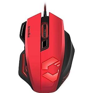 Speedlink DECUS RESPEC Gaming Mouse – Ergonomische Maus für Büro/Home Office (Einstellbar bis 5000 dpi – Beleuchtung in 7 Farben – Programmierbare Tasten) für PC/Notebook/Laptop, schwarz-rot