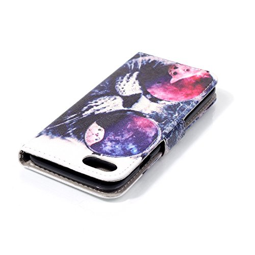 SainCat Apple iPhone 7 Custodia in Pelle,Anti-Scratch Protettiva Corpertura Caso Custodia Per iPhone 7,Elegante Creativa Dipinto Pattern Design PU Leather Flip Ultra Slim Sottile Morbida Portafoglio W Occhiali gatto