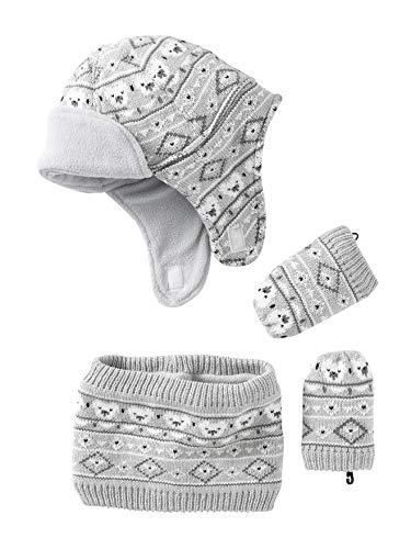 a137cfb58121 VERTBAUDET Bonnet + snood + moufles bébé tricot doublés polaire Gris clair  chiné 12 18M