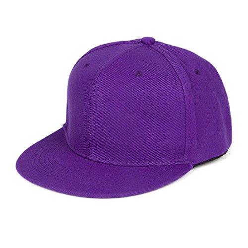 6197ed8c0ea5f Tongshi Moda Unisex Plain Snapback Hats Hip-Hop ajustable Gorra de béisbol  (Morado)