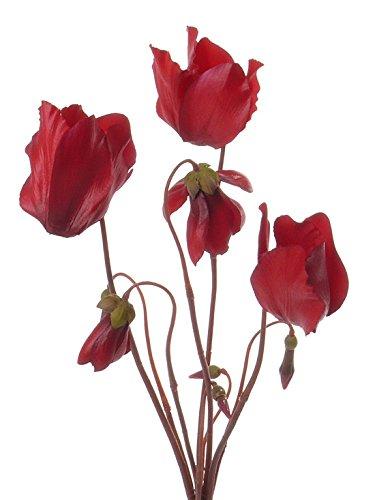artplants Set 6 x Künstliches Alpenveilchen BIRTE, 5 Blüten, rot, 40 cm – Deko Cyclamen/Kunstblume