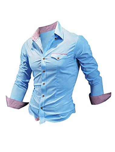 uxcell Allegra K Herren Knopf Langarm Plaid Zweifarbig Normal Hemd für Business oder Freizeit, Sky Blau/L (EU 52)