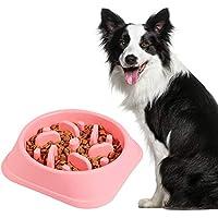 Belking Anti Tragando Tazón de Alimentación de Perro, Tazón de Alimentación Lenta de Perro, Interactivo Cuenco, Antideslizante Alimentacion Plato, Tazón de Alimentación de Mascotas - Rosa