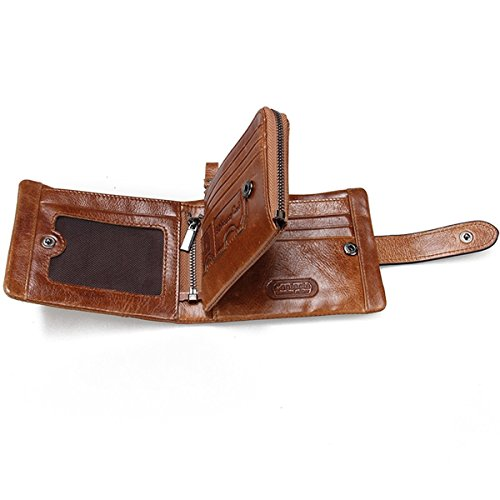 HIRAM@Männer echtes weiches Leder Bifold Trifold Aktenkoffer Münzen Tasche Geldbörse Hochwertige Brieftasche (braun1) braun1