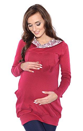 Mija - 2 en 1 Maternité et soins d'allaitement Sweet ? capuche chaud Top 7102A (EU 46, Bordeaux)