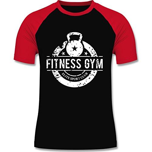 CrossFit & Workout - Fitness Gym Elite Sport Club - zweifarbiges Baseballshirt für Männer Schwarz/Rot