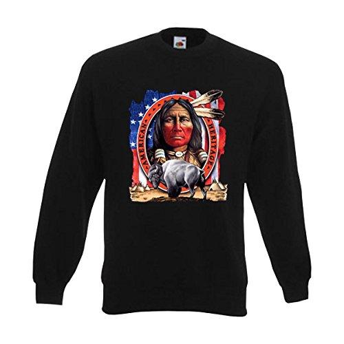 Sweatshirt American Heritage, Indianer Zelte Sternenbanner Bison, bedruckter American Style Sweat Pullover, auch große Größen (AIM00124) 6XL - American Heritage Sweatshirt