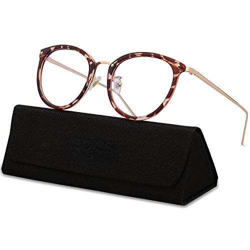 SojoS Runde Brille Schick Optiker Klar Objektiv Brille Damen SJ5969 mit Braun Rahmen/Gold Bügel (Vintage Horn Umrandeten Sonnenbrille)