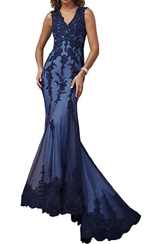 Victory Bridal Elegant Langes Spitze Abendkleider Ballkleider Meerjungfrau Promkleider Festlichkleider Neu Dunkel Blau