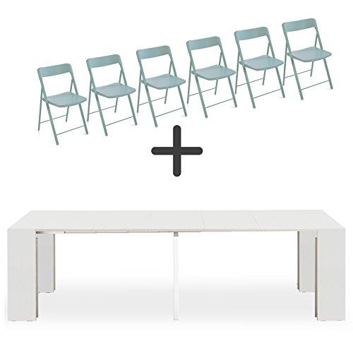 Tavolo 90 X 90 Allungabile Bianco.Set 6 Sedie Pieghevoli Consolle Allungabile Party Bianco Frassino