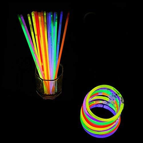Trimming Shop Leuchtstäbe Party-Packungen mit Steckern für Neon Halskette, Fluoreszierendes Licht, Glühend Armbänder, Stirnbänder, Schutzbrillen, Party Füllung, 100 Teile - Mehrfarbig, 100 Glow Sticks
