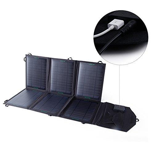 KINGSOLAR 39W Monokristalline Solar Ladegerät Dual-Ausgang USB 5V / 2,1A, DC 18V / 2,2A (Faltbare, Tragbare, Leistung max IQ-Technologie) für iPhone, iPad, Samsung und Andere Digitale Geräte (Elektronische 39w)