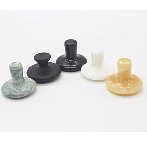 5Farben Pilz Hot Stone abkratzen von Gua Sha Massage Tools, Echo & Kern (5PCS) natur Heilstein Schaber für Körper Gesicht SPA Akupunktur Therapie Trigger Point Behandlung - Stone-massage-tools