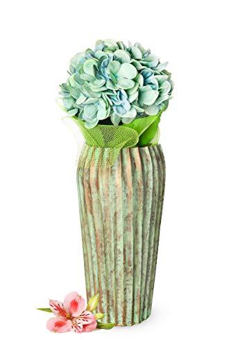 Sendez Große Vase aus Mettal Bodenvase Dekovase Blumenvase Trockenblumen Tischvase Metallvase (Kupfer Optik)
