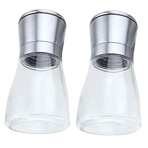 HshDUti 2 Stücke Gewürze Salz Pfeffermühle Glas Manuelle Mühle Jar Home Küche Schleifwerkzeug Transparent (Spice Jar-schleifer)