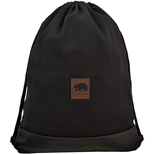 ndmade Turnbeutel Rucksack mit Innentasche aus hochwertigem Baumwoll-Canvas in schwarz für Freizeit, Reisen und Festival für Damen & Herren ()