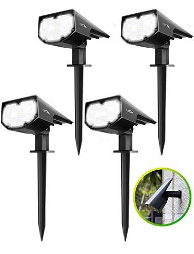 12 LED Paisaje Luces Solares Mejoradas,Luz del césped Impermeable IP67 con 2 Modos de Iluminación para Patio, Garaje, Camino, Camino de Entrada, Porche, Piscina y Patio(4 Paquetes)