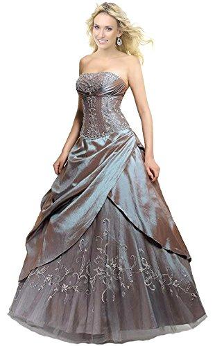 Faironly M201 Frauen trägerlosen Abendkleid Formal Silber Ball Kleid (XS)