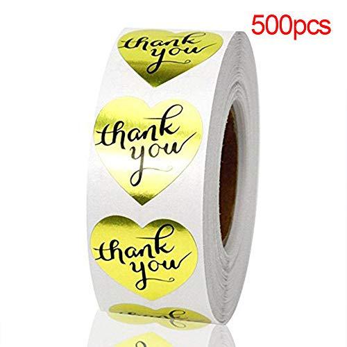 48 étiquettes adhésives coeur Merci label THANK YOU Handmade with love DIY 3 cm