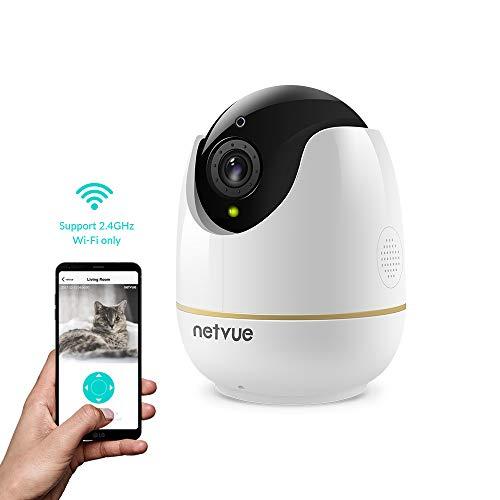 NETVUE 1080P Überwachungskamera Innen WLAN Handy WLAN Kamera Alexa Haustier Kamera Babyphone mit Vollansicht IR Nachtsicht, Personenerkennung, Sicherheitsüberwachungssystem für IOS/Andriod